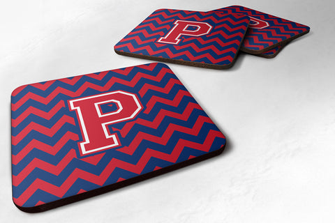 Buy this Letter P Chevron Yale Blue and Crimson Foam Coaster Set of 4 CJ1054-PFC
