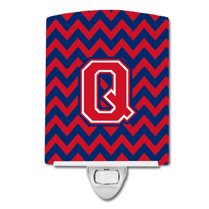 Buy this Letter Q Chevron Yale Blue and Crimson Ceramic Night Light CJ1054-QCNL