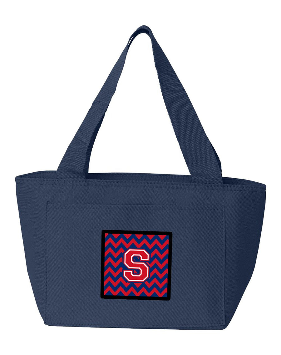 Buy this Letter S Chevron Yale Blue and Crimson Lunch Bag CJ1054-SNA-8808