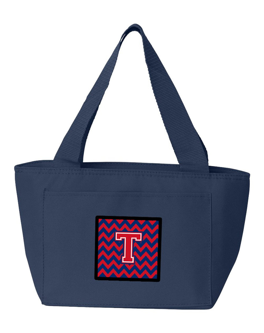 Buy this Letter T Chevron Yale Blue and Crimson Lunch Bag CJ1054-TNA-8808