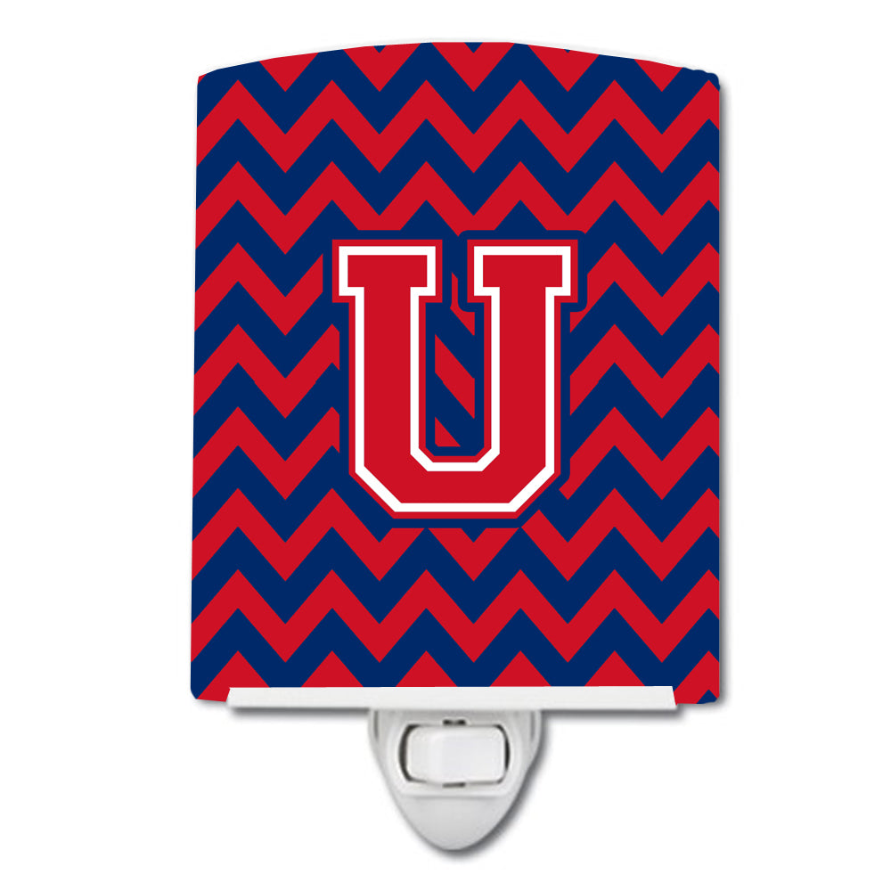 Buy this Letter U Chevron Yale Blue and Crimson Ceramic Night Light CJ1054-UCNL