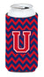 Buy this Letter U Chevron Yale Blue and Crimson Tall Boy Beverage Insulator Hugger CJ1054-UTBC