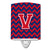 Letter V Chevron Yale Blue and Crimson Ceramic Night Light CJ1054-VCNL by Caroline's Treasures