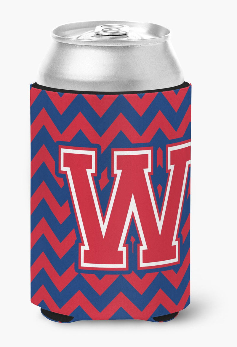 Buy this Letter W Chevron Yale Blue and Crimson Can or Bottle Hugger CJ1054-WCC