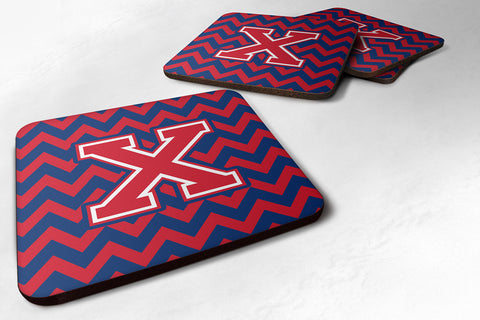 Buy this Letter X Chevron Yale Blue and Crimson Foam Coaster Set of 4 CJ1054-XFC
