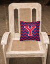Letter Y Chevron Yale Blue and Crimson Fabric Decorative Pillow CJ1054-YPW1414 by Caroline's Treasures