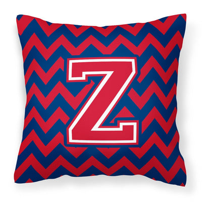 Buy this Letter Z Chevron Yale Blue and Crimson Fabric Decorative Pillow CJ1054-ZPW1414