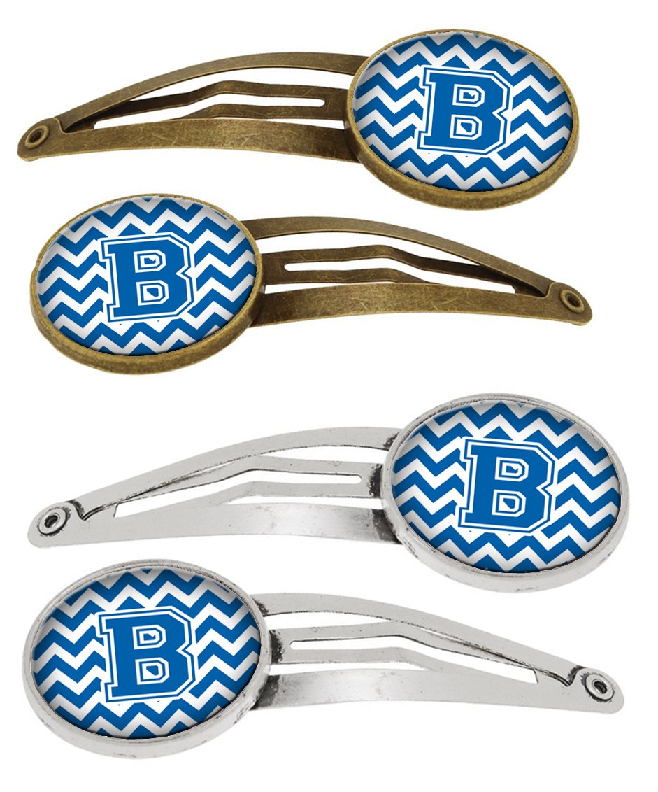 Buy this Letter B Chevron Blue and White Set of 4 Barrettes Hair Clips CJ1056-BHCS4