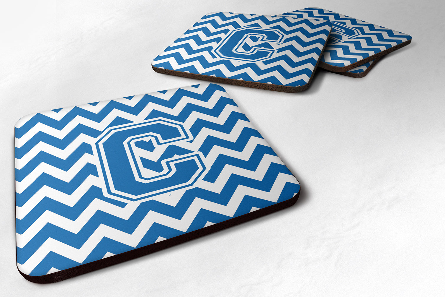 Set of 4 Letter C Chevron Blue and White Foam Coasters Set of 4 CJ1056-CFC by Caroline's Treasures