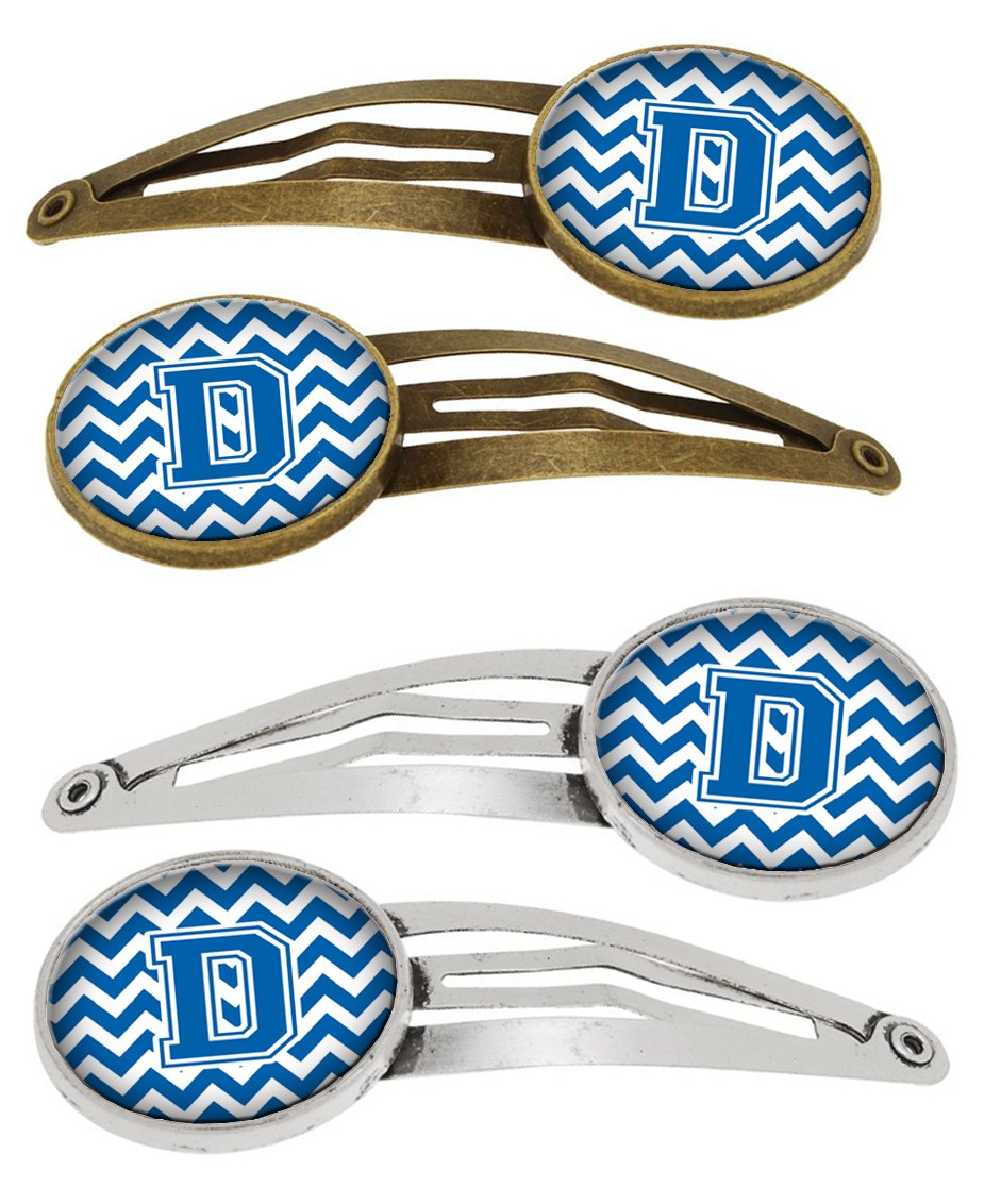 Letter D Chevron Blue and White Set of 4 Barrettes Hair Clips CJ1056-DHCS4 by Caroline's Treasures