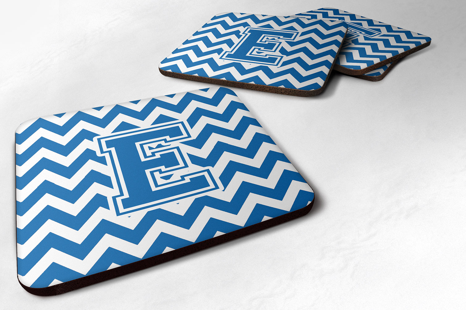 Buy this Set of 4 Letter E Chevron Blue and White Foam Coasters Set of 4 CJ1056-EFC