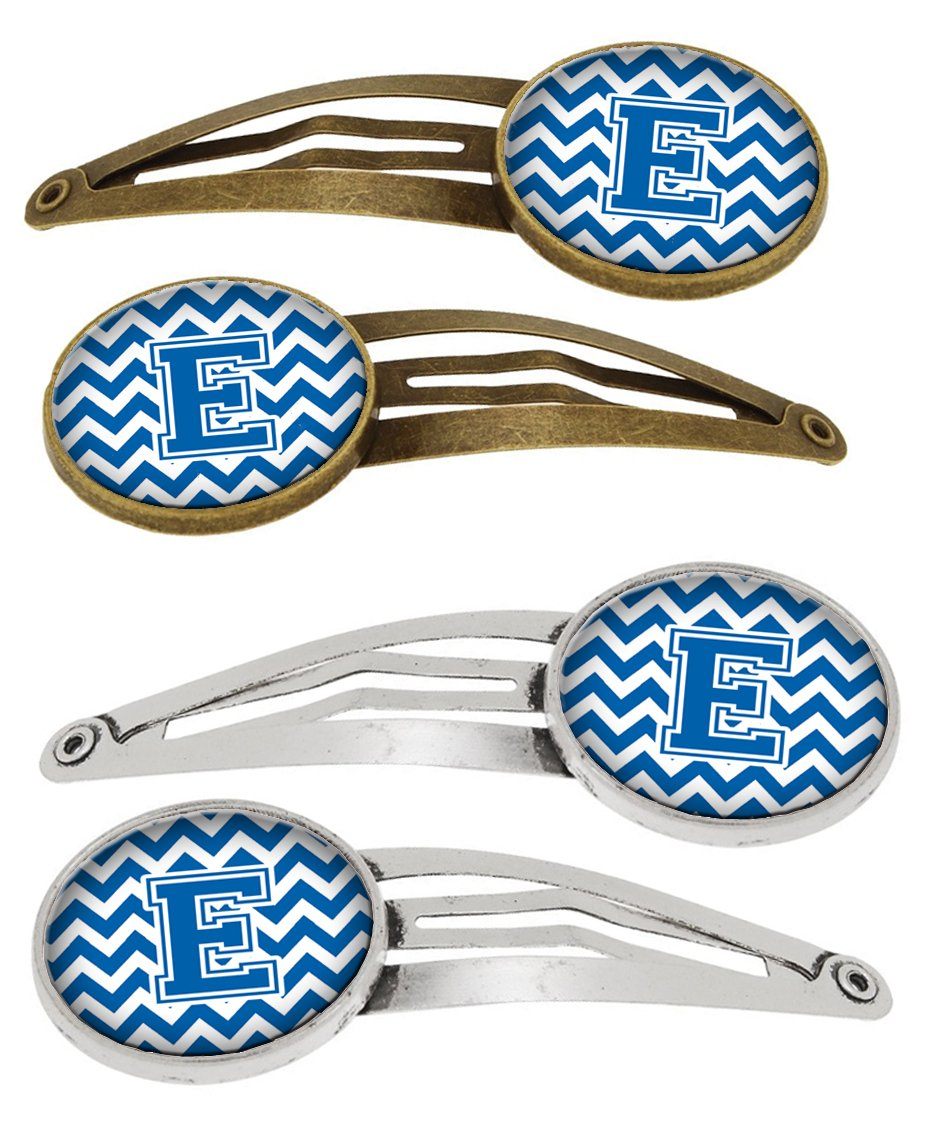 Buy this Letter E Chevron Blue and White Set of 4 Barrettes Hair Clips CJ1056-EHCS4