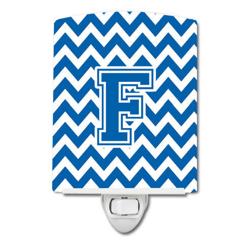 Buy this Letter F Chevron Blue and White Ceramic Night Light CJ1056-FCNL