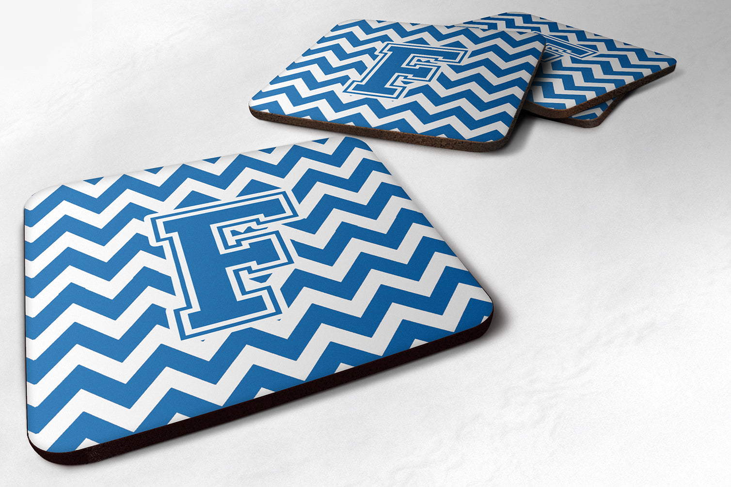 Buy this Set of 4 Letter F Chevron Blue and White Foam Coasters Set of 4 CJ1056-FFC