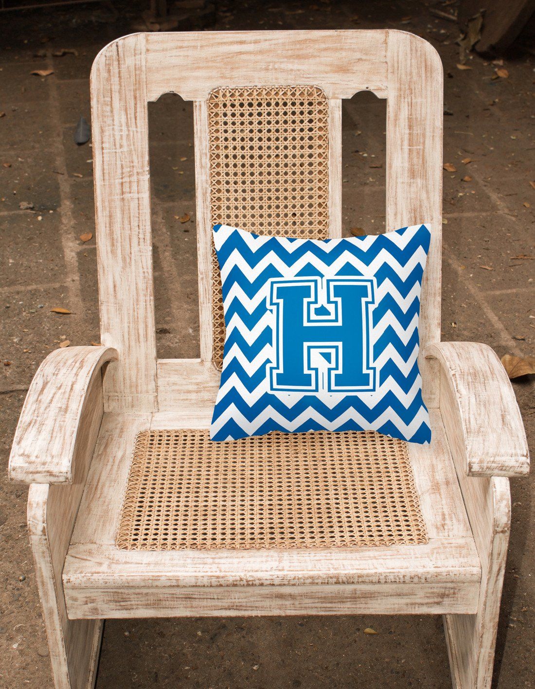 Letter H Chevron Blue and White Fabric Decorative Pillow CJ1056-HPW1414 by Caroline's Treasures