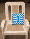 Letter I Chevron Blue and White Fabric Decorative Pillow CJ1056-IPW1414 by Caroline's Treasures