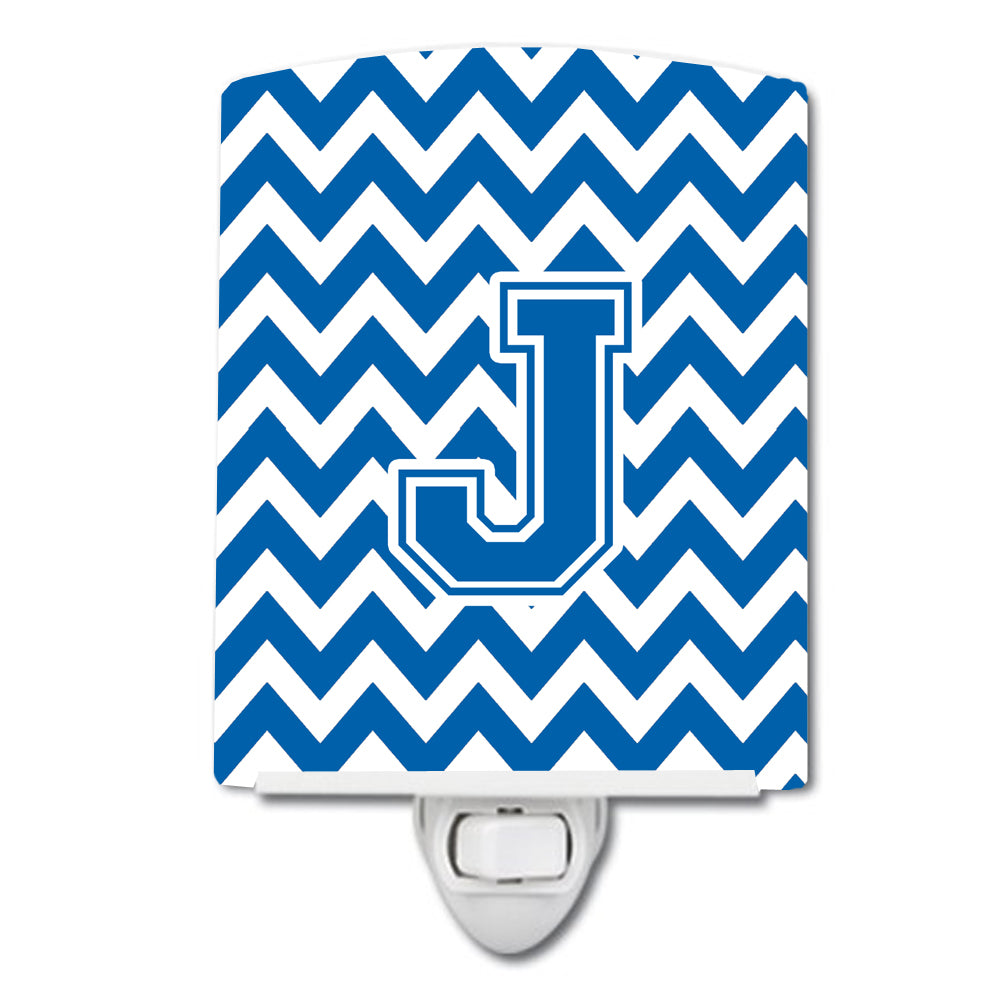 Letter J Chevron Blue and White Ceramic Night Light CJ1056-JCNL by Caroline's Treasures