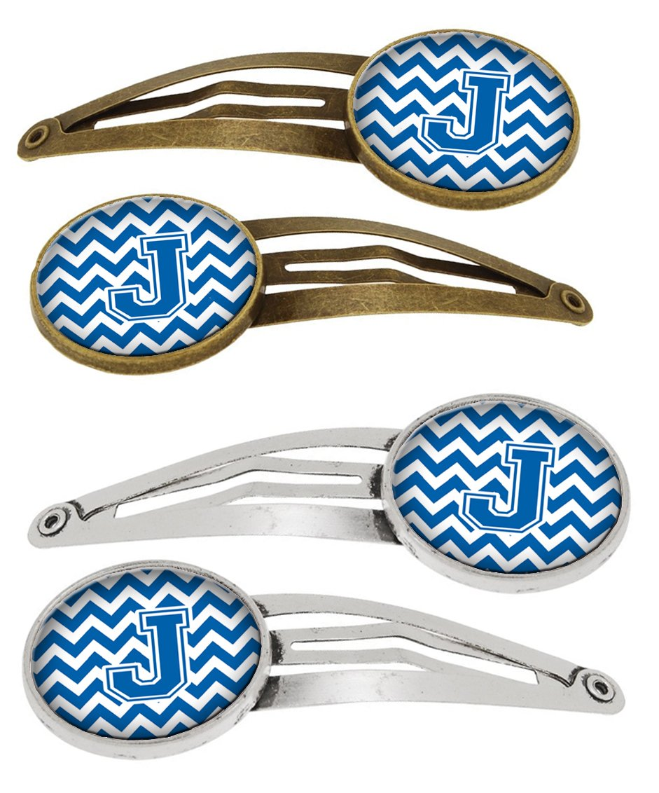 Letter J Chevron Blue and White Set of 4 Barrettes Hair Clips CJ1056-JHCS4 by Caroline's Treasures
