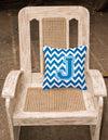 Letter J Chevron Blue and White Fabric Decorative Pillow CJ1056-JPW1414 by Caroline's Treasures