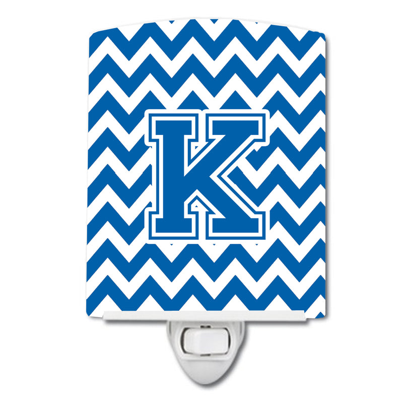 Buy this Letter K Chevron Blue and White Ceramic Night Light CJ1056-KCNL