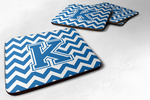 Buy this Letter K Chevron Blue and White Foam Coaster Set of 4 CJ1056-KFC