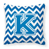 Letter K Chevron Blue and White Fabric Decorative Pillow CJ1056-KPW1414 by Caroline's Treasures
