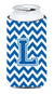 Letter L Chevron Blue and White Tall Boy Beverage Insulator Hugger CJ1056-LTBC by Caroline's Treasures
