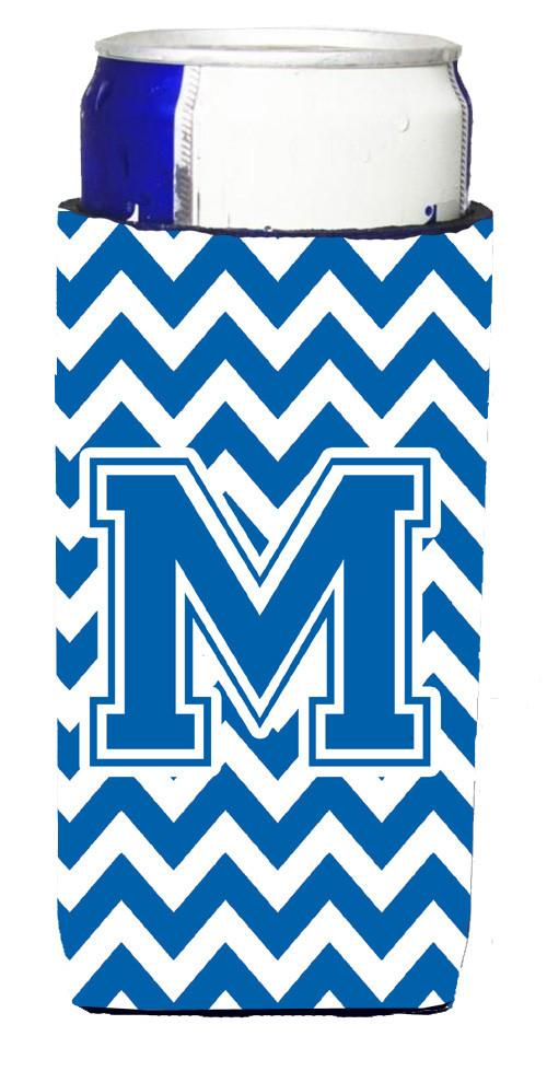 Letter M Chevron Blue and White Ultra Beverage Insulators for slim cans CJ1056-MMUK by Caroline's Treasures