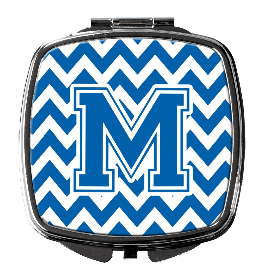 Letter M Chevron Blue and White Compact Mirror CJ1056-MSCM by Caroline's Treasures