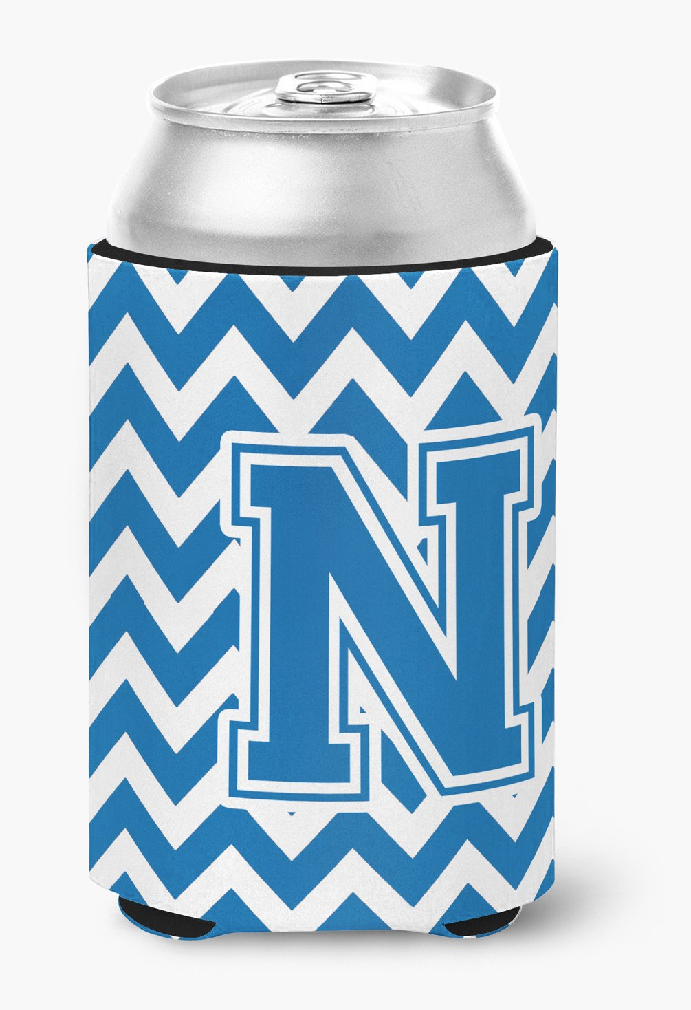Letter N Chevron Blue and White Can or Bottle Hugger CJ1056-NCC by Caroline's Treasures