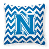 Letter N Chevron Blue and White Fabric Decorative Pillow CJ1056-NPW1414 by Caroline's Treasures