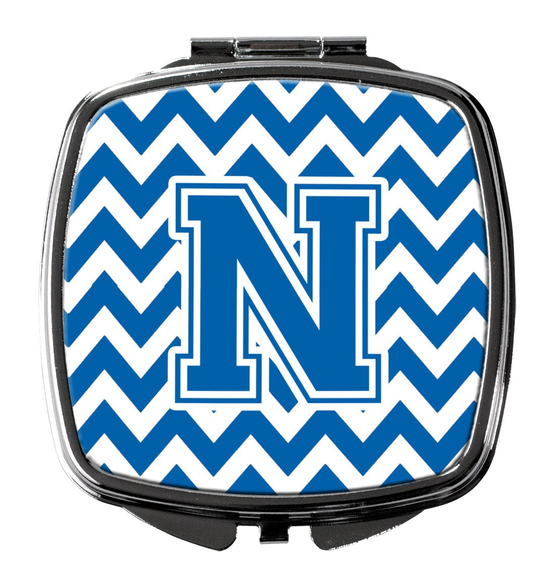 Letter N Chevron Blue and White Compact Mirror CJ1056-NSCM by Caroline's Treasures