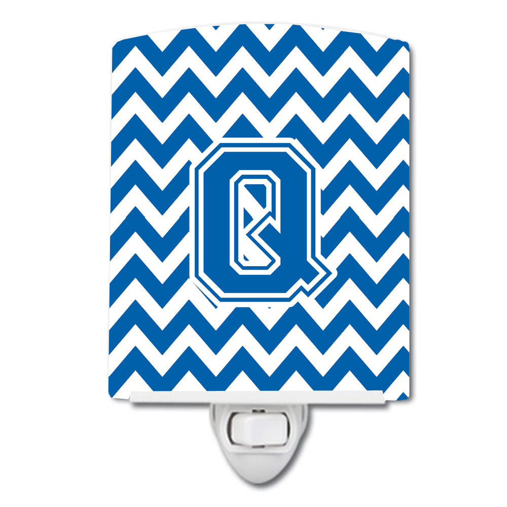 Buy this Letter Q Chevron Blue and White Ceramic Night Light CJ1056-QCNL