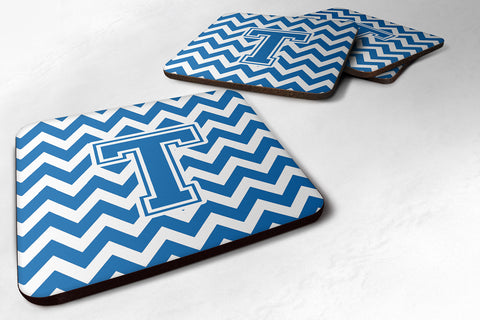 Buy this Letter T Chevron Blue and White Foam Coaster Set of 4 CJ1056-TFC