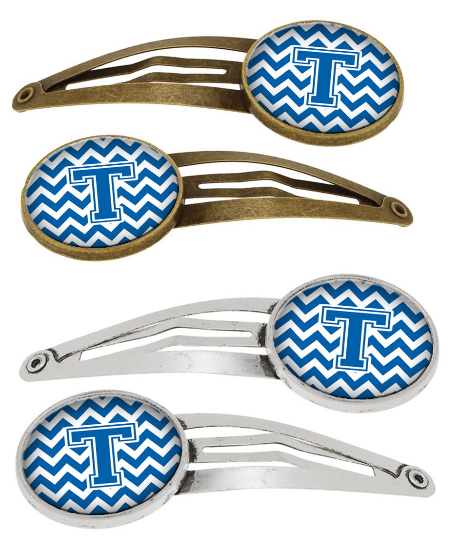Buy this Letter T Chevron Blue and White Set of 4 Barrettes Hair Clips CJ1056-THCS4