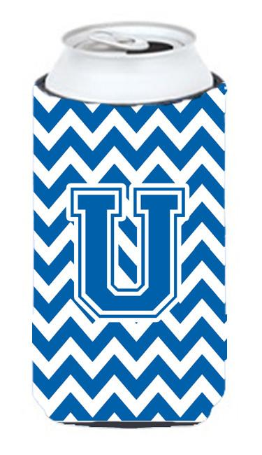 Buy this Letter U Chevron Blue and White Tall Boy Beverage Insulator Hugger CJ1056-UTBC