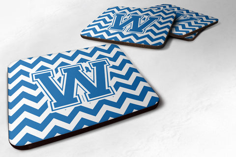 Buy this Letter W Chevron Blue and White Foam Coaster Set of 4 CJ1056-WFC