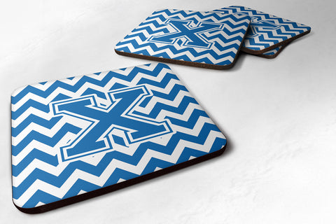 Buy this Letter X Chevron Blue and White Foam Coaster Set of 4 CJ1056-XFC