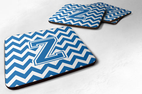 Buy this Letter Z Chevron Blue and White Foam Coaster Set of 4 CJ1056-ZFC