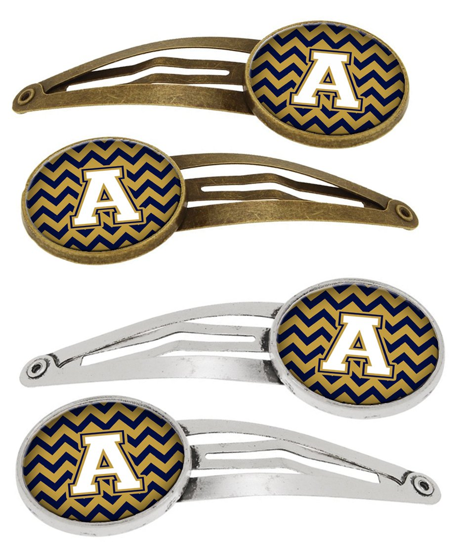 Buy this Letter A Chevron Navy Blue and Gold Set of 4 Barrettes Hair Clips CJ1057-AHCS4