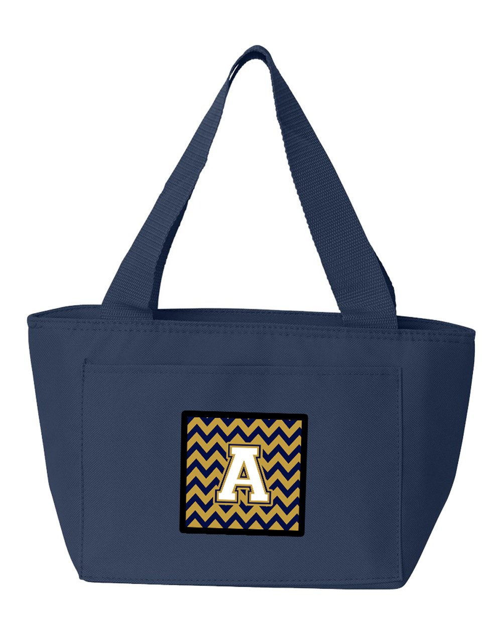 Buy this Letter A Chevron Navy Blue and Gold Lunch Bag CJ1057-ANA-8808