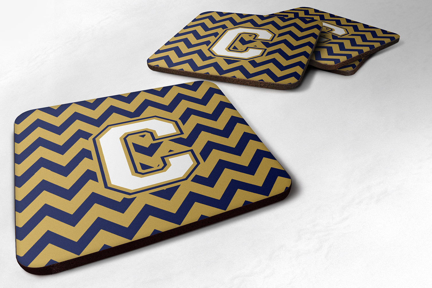 Letter C Chevron Navy Blue and Gold Foam Coaster Set of 4 CJ1057-CFC by Caroline's Treasures