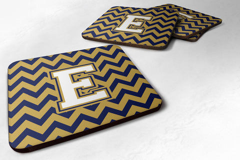 Buy this Letter E Chevron Navy Blue and Gold Foam Coaster Set of 4 CJ1057-EFC
