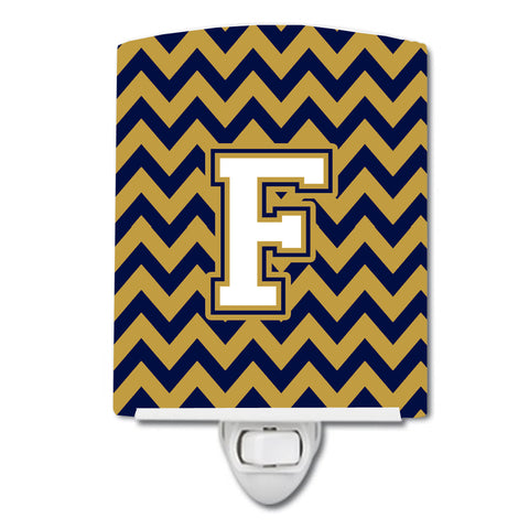Buy this Letter F Chevron Navy Blue and Gold Ceramic Night Light CJ1057-FCNL