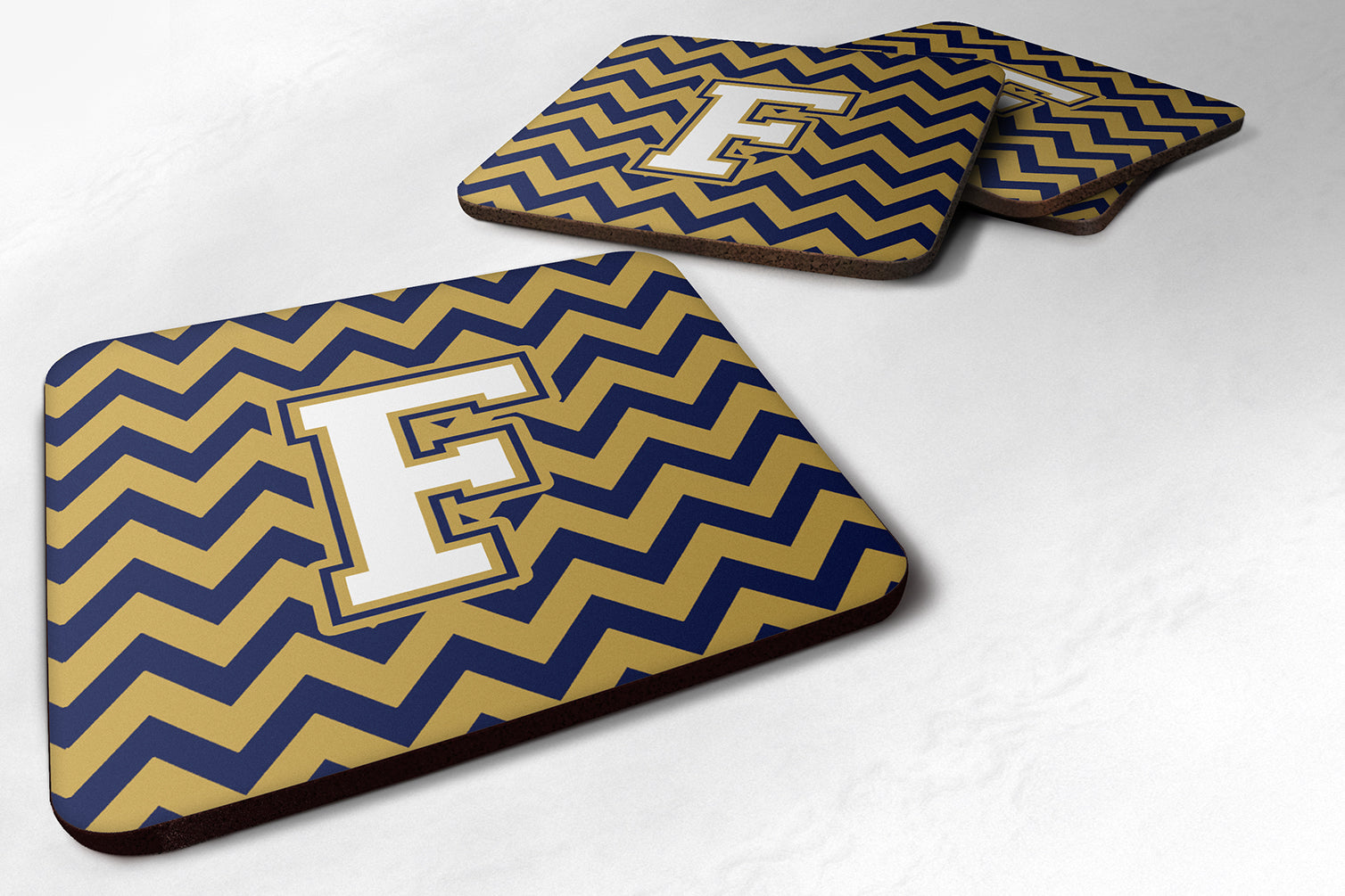 Buy this Set of 4 Letter F Chevron Navy Blue and Gold Foam Coasters Set of 4 CJ1057-FFC
