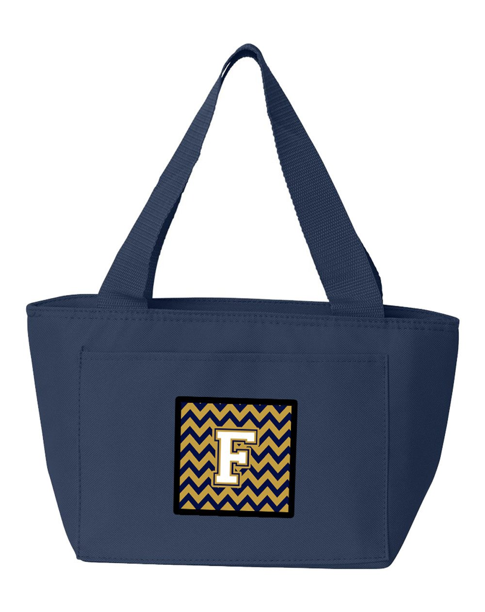 Buy this Letter F Chevron Navy Blue and Gold Lunch Bag CJ1057-FNA-8808