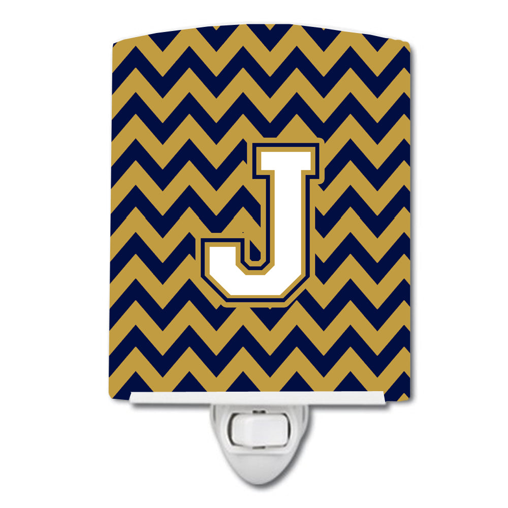 Letter J Chevron Navy Blue and Gold Ceramic Night Light CJ1057-JCNL by Caroline's Treasures