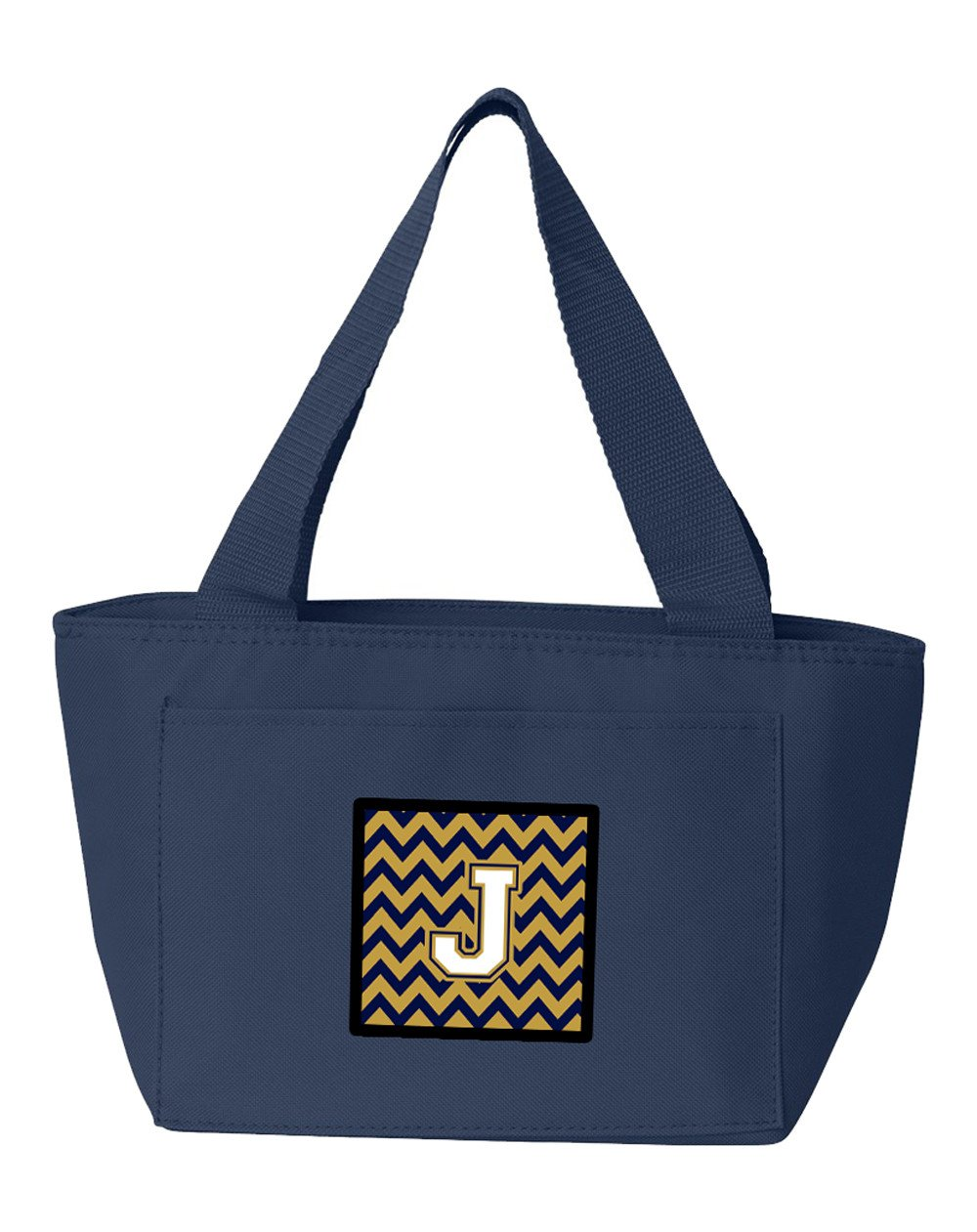 Buy this Letter J Chevron Navy Blue and Gold Lunch Bag CJ1057-JNA-8808