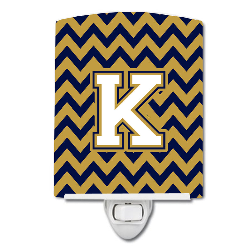 Buy this Letter K Chevron Navy Blue and Gold Ceramic Night Light CJ1057-KCNL
