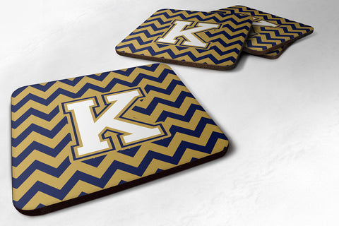 Buy this Letter K Chevron Navy Blue and Gold Foam Coaster Set of 4 CJ1057-KFC